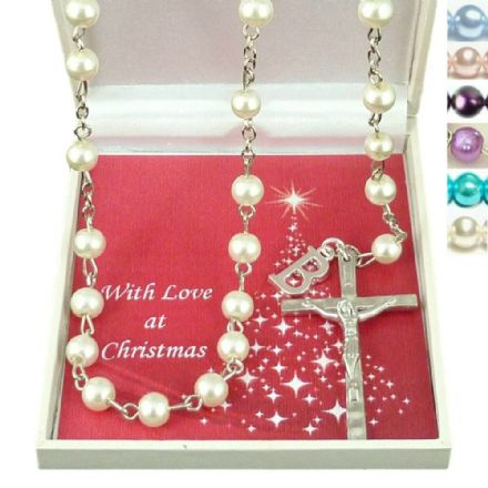Pearl Rosaries with Letter Charm in Christmas Gift Box